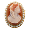 Hardstone Cameo Brooch Cornelian with Natural Pearls - image 1
