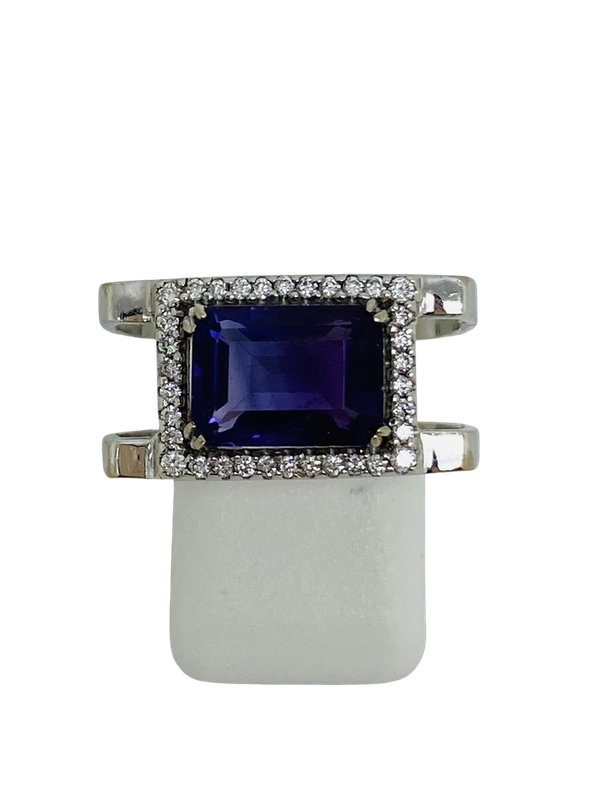 18K white gold 3.50ct Amethyst and Diamond Ring - image 1