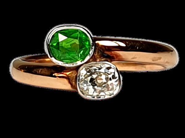 Russian Demantoid Garnet and Cushion Cut Diamond Ring  DBGEMS - image 1