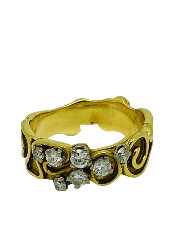18K yellow gold 0.35ct Diamond Ring - image 1