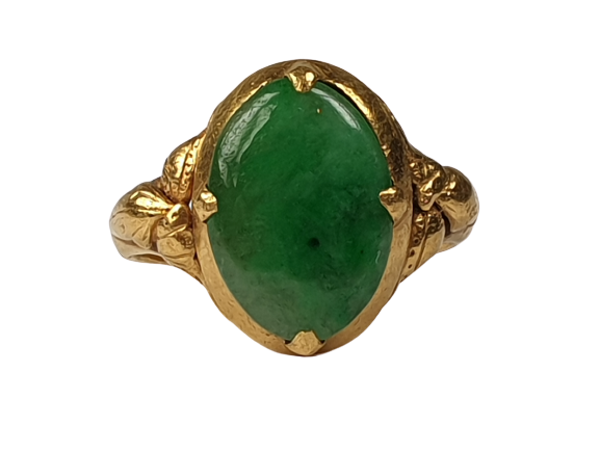 Jade Signet Ring Set in 22ct Gold  DBGEMS - image 1