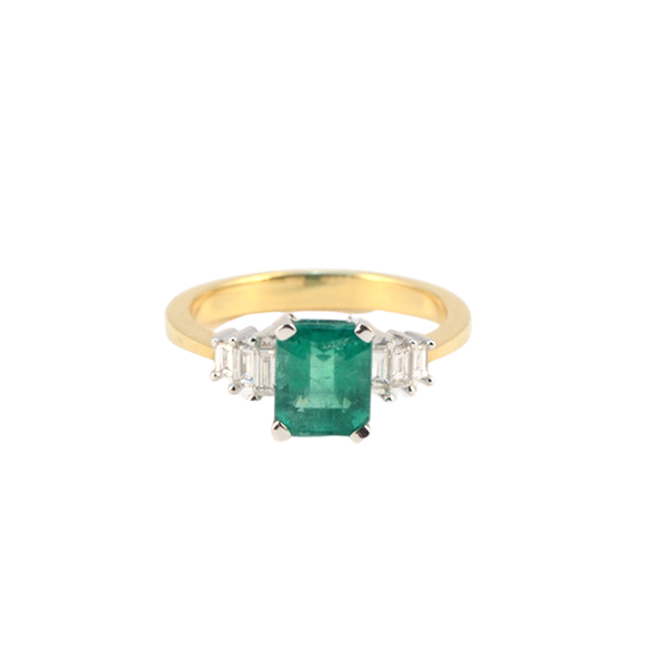 1980's, 18ct White/Yellow Gold Emerald & Diamond stone set Ring, SHAPIRO & Co - image 1