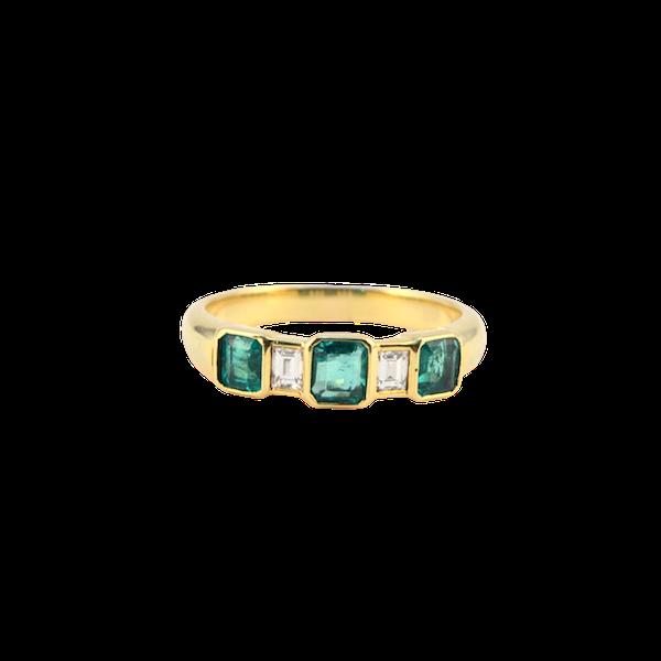 1950's, 18ct Yellow Gold Emerald & Diamond stone set Ring, SHAPIRO & Co - image 1