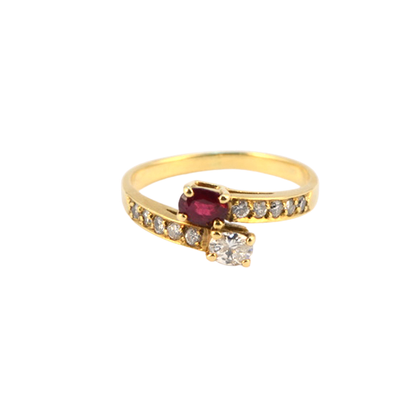 1960's, 18ct Yellow Gold Ruby & Diamond stone set Ring, SHAPIRO & Co - image 1