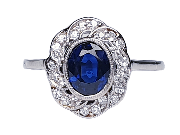 1920's art deco sapphire and diamond engagement ring  DBGEMS - image 1