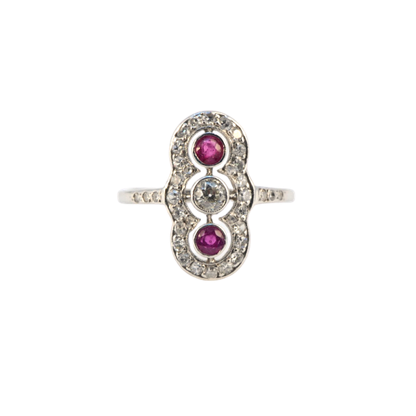 Ruby Diamond Ring in Platinum Date circa 1910  SHAPIRO & Co since1979 - image 1