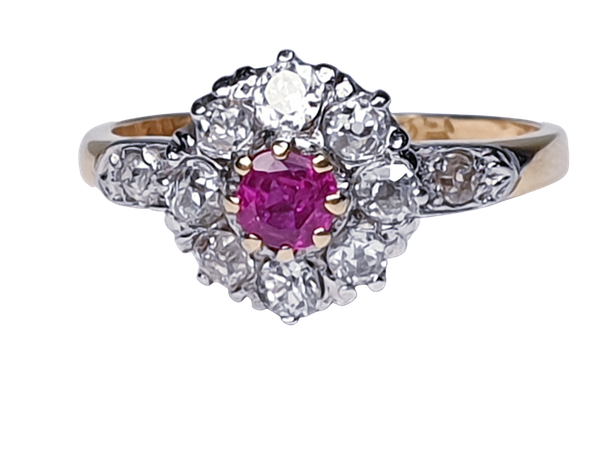Edwardian Ruby and Diamond Cluster Ring DBGEMS - image 1
