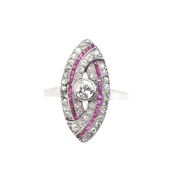 An Art Deco Diamond and Ruby Ring - image 1