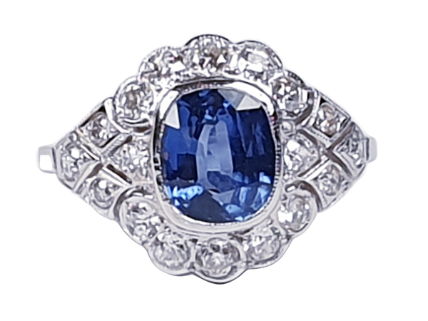 Geometric Sapphire & Diamond Engagement Ring  DBGEMS - image 1