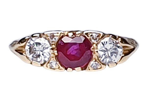 Ruby and Diamond Carved Half Hoop Ring  DBGEMS - image 1