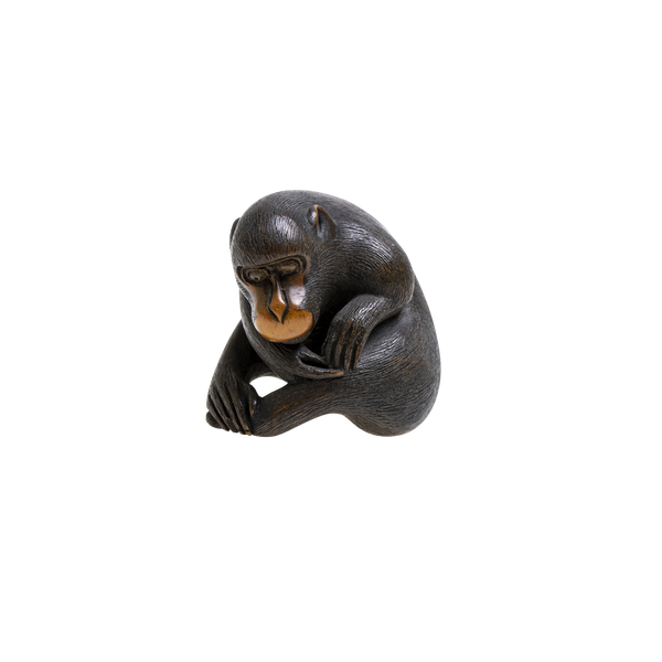 Signed Wood Netsuke of monkey - image 1
