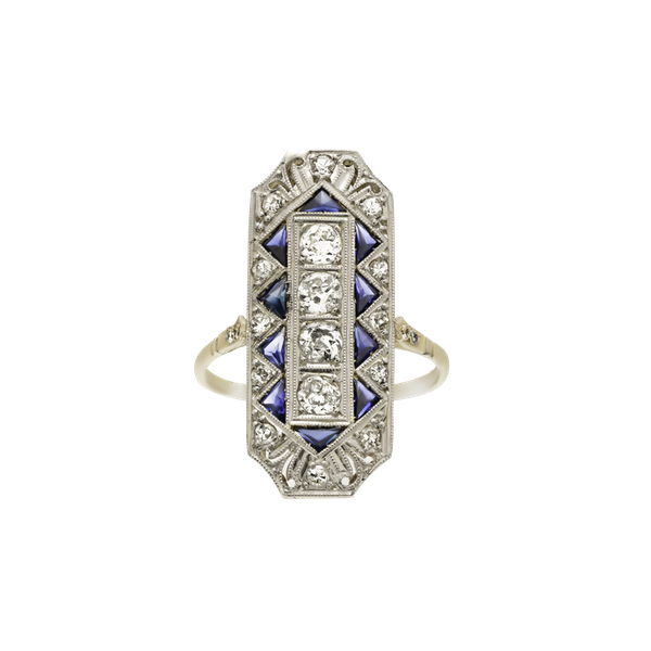 Deco Plaque Sapphire and Diamond  Ring - image 1