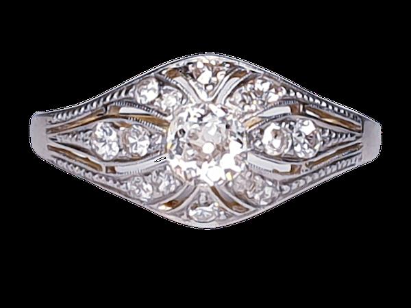 Edwardian Unique Diamond Engagement Ring  DBGEMS - image 1
