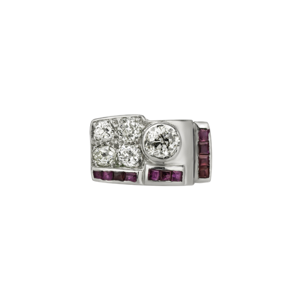 Retro Ruby and Diamond Ring - image 1