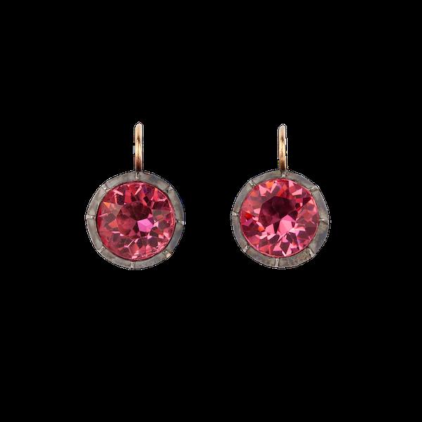 Georgian pink paste silver earrings - image 1