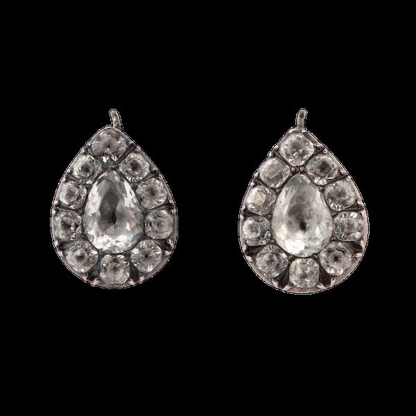 Georgian paste silver drop earrings - image 1