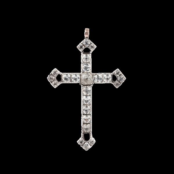 Georgian paste silver cross pendant - image 1
