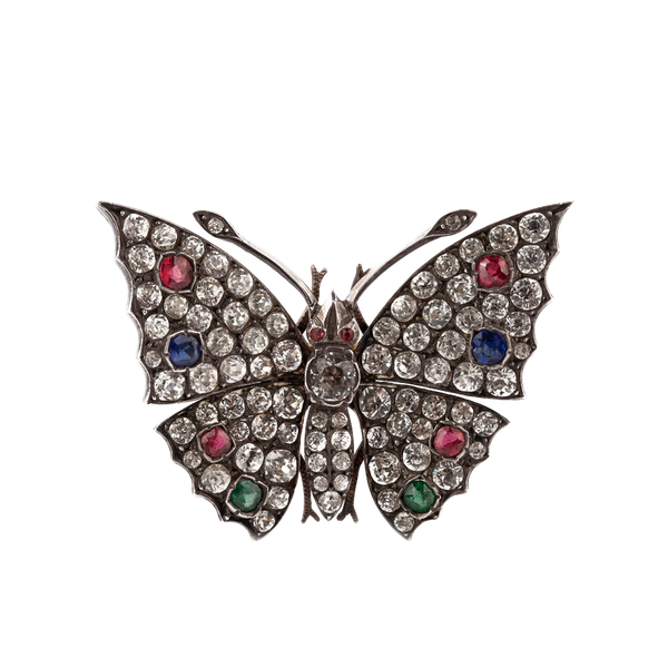Victorian paste and silver butterfly brooch - image 1