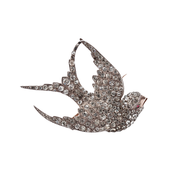 Victorian paste and silver swallow brooch - image 1