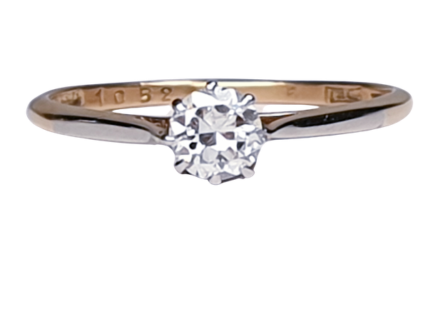 Antique Diamond Solitaire Engagement Ring 2180   DBGEMS - image 1