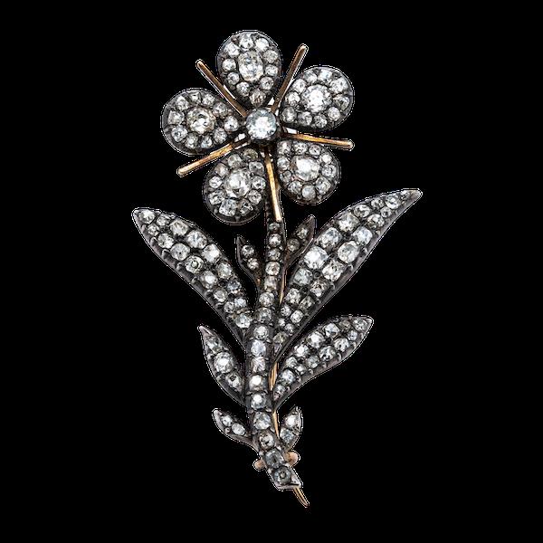 Victorian en tremblant diamond brooch - image 1