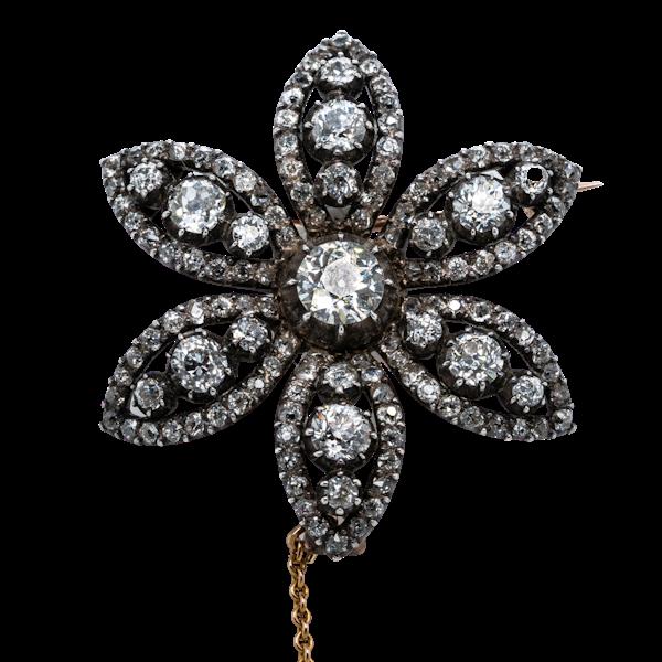 Georgian diamond flower brooch - image 1