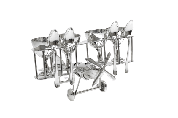 Fabulous Silver Plated Novelty Egg Cup holder in the shape of a biplane - image 1