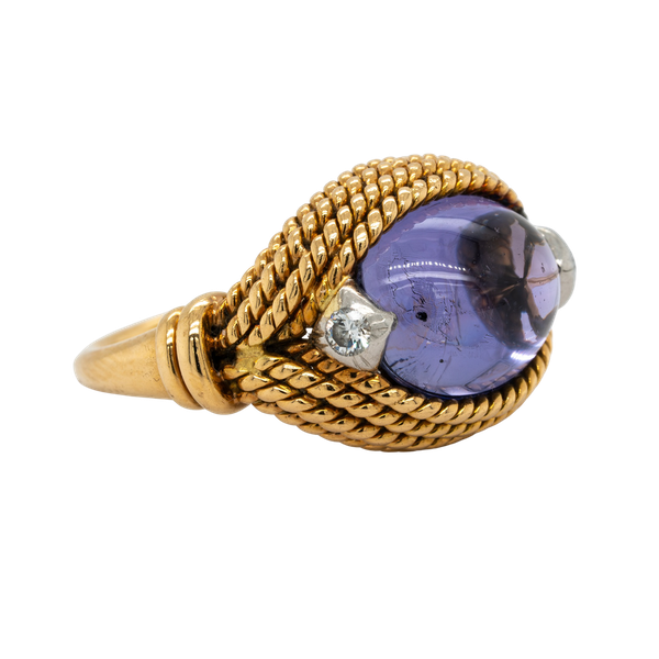 An unusual Marchak ring with a large central purple sapphire - image 1
