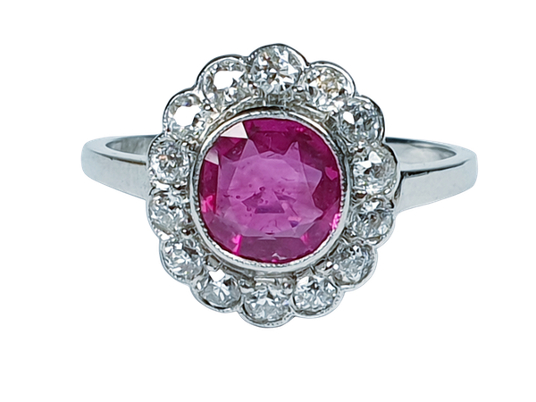 Burmese Ruby and Diamond Cluster Ring  DBGEMS - image 1
