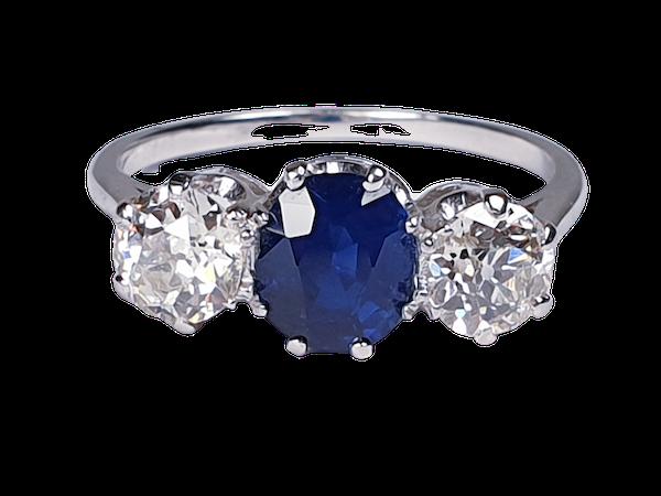 Sapphire and Diamond Three Stone Diamond Engagement Ring  DBGEMS - image 1