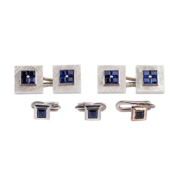 Art Deco Cufflinks & Studs Cartier Style in 18 Karat Gold with Square Sapphires, USA circa 1935. - image 1