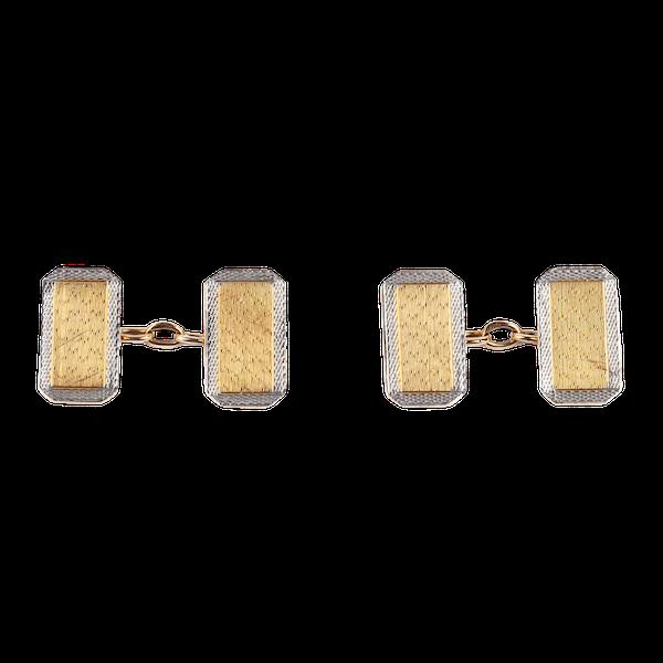 Classic Edwardian 18 Carat Gold Cufflinks with Platinum Border, English dated 1907. - image 1