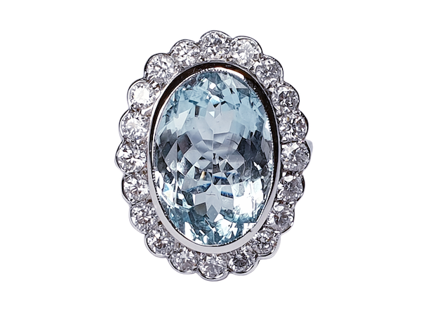 Aquamarine and Diamond Cluster Ring  DBGEMS - image 1