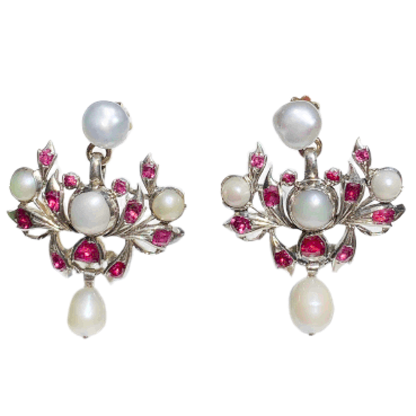 A pair of Ruby and Pearl Drop Earrings - image 1