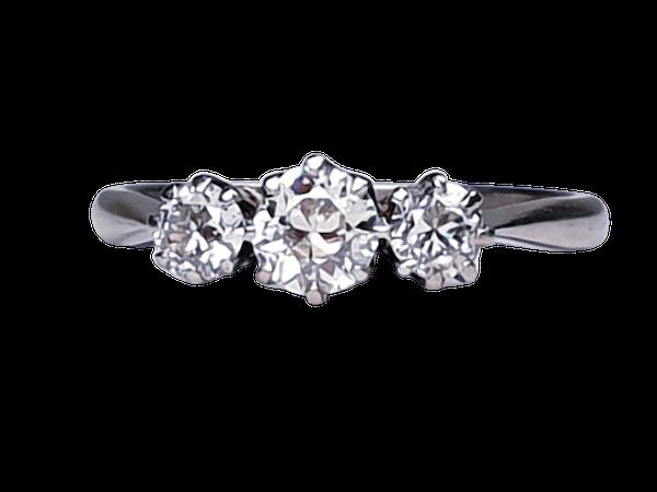 Art Deco Three Stone Diamond Engagement  DBGEMS   Ringuct - image 1