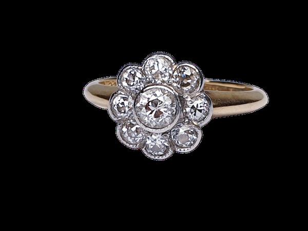 Edwardian Diamond Cluster Engagement Ring  DBGEMS - image 1