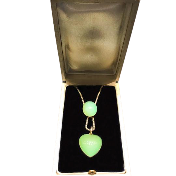 A Green Chalcedony and Gold Heart Pendant - image 1