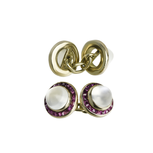 Natural Ruby & Moonstone Cufflinks - image 1
