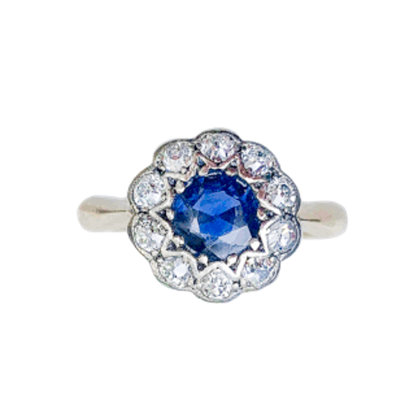 A 1910 Sapphire and Diamond Cluster Ring - image 1