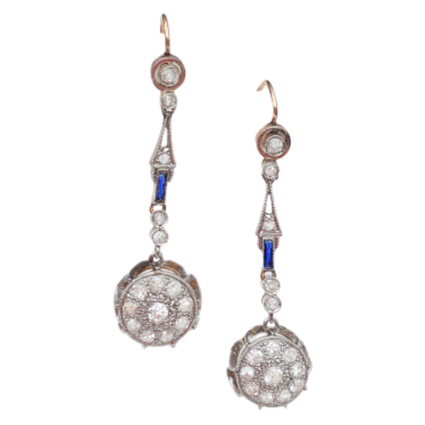 A pair of Diamond and Sapphire Earrings - image 1