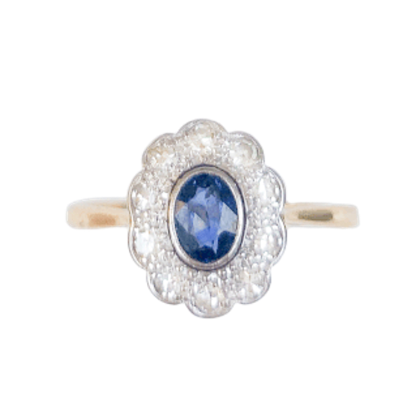 A 1910 Sapphire and Diamond Ring - image 1