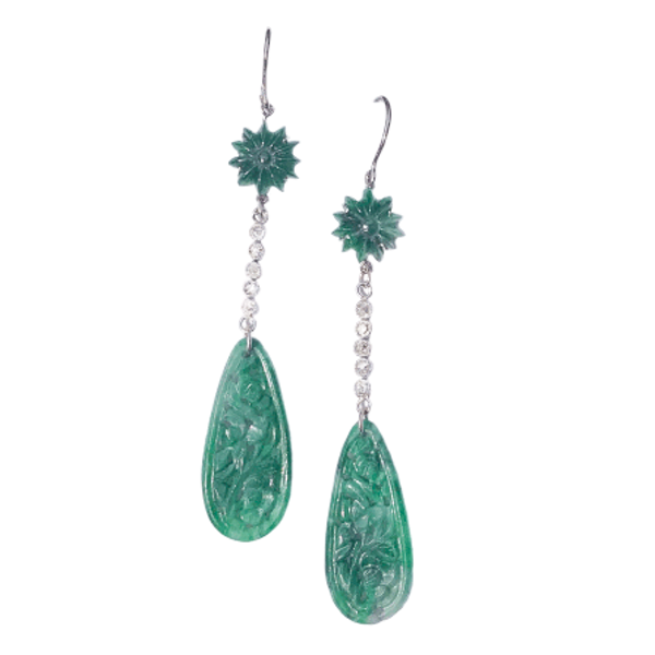 A pair of Jade and Diamond Platinum Earrings - image 1