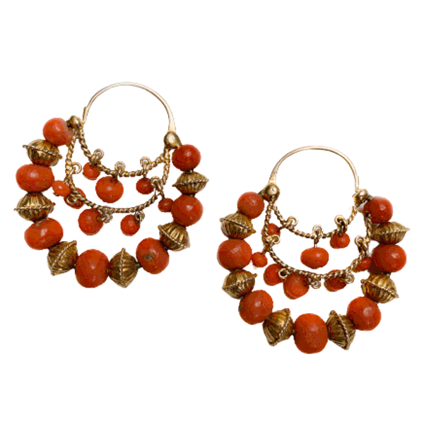 A pair of Gold Coral Gypsy Earrings - image 1