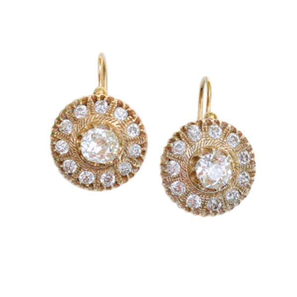 A pair of Russian Gold and Diamond Earrings - image 1