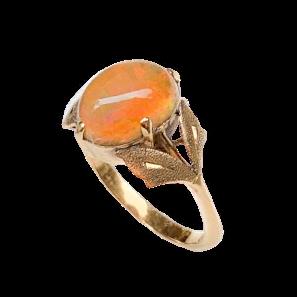 An Art Nouveau Gold Fire Opal Ring - image 1