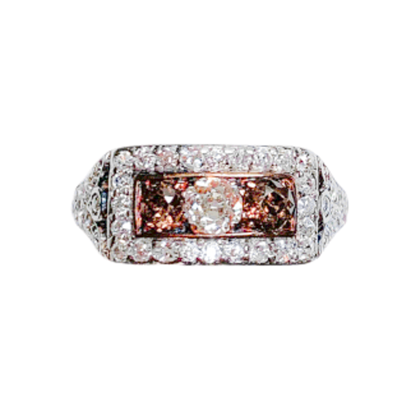 A Cognac Diamond and Diamond Gold Ring - image 1