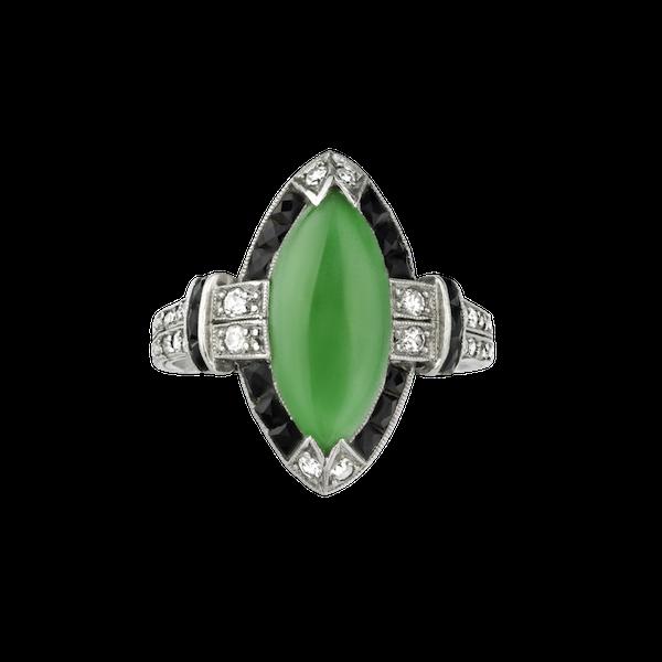 Jade Onyx & Diamond Ring. - image 1