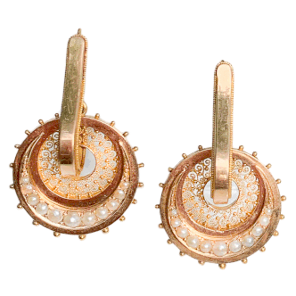 A pair of Gold and Pearl Hoop Earrings - image 1
