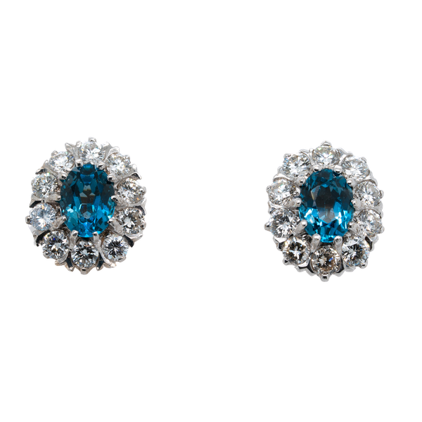 Blue topaz and diamond cluster earrings - image 1