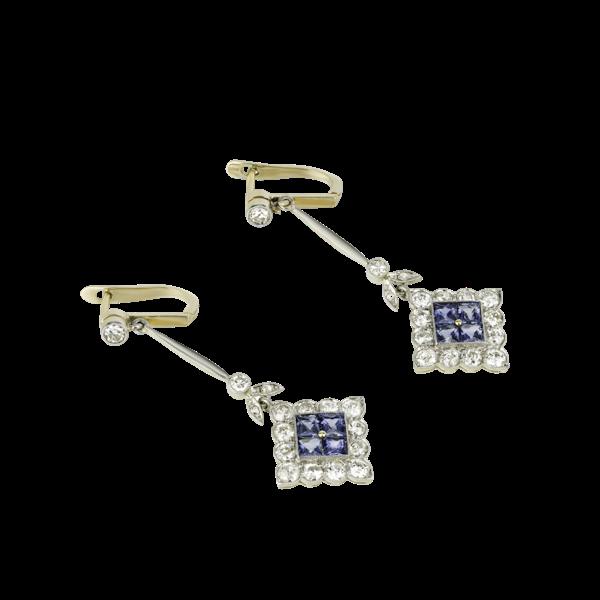 Diamond & Sapphire Earrings - image 1